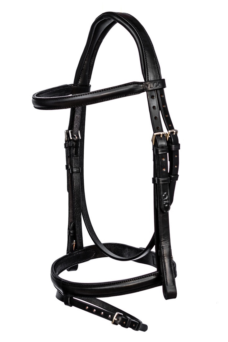 Anatomical bridle with stitched and raised flash noseband by TC Leatherwork