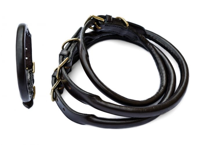 Rolled leather dog collars by TC Leatherwork