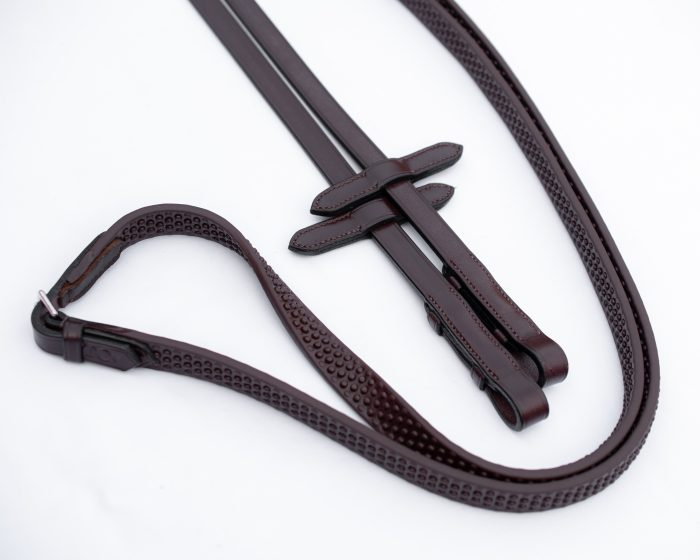 British Made English Leather and Supa Grip Rubber Reins made by Somerset based TC Leatherwork