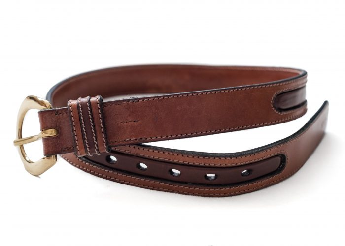Bespoke leather in lay belts made by Somerset based TC Leatherwork.