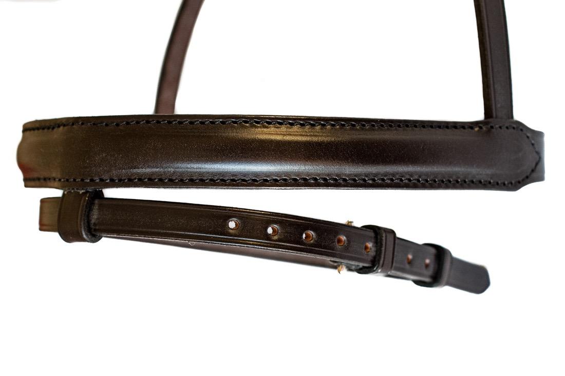 British Made English Leather Stitched & Raised Noseband made by Somerset based TC Leatherwork