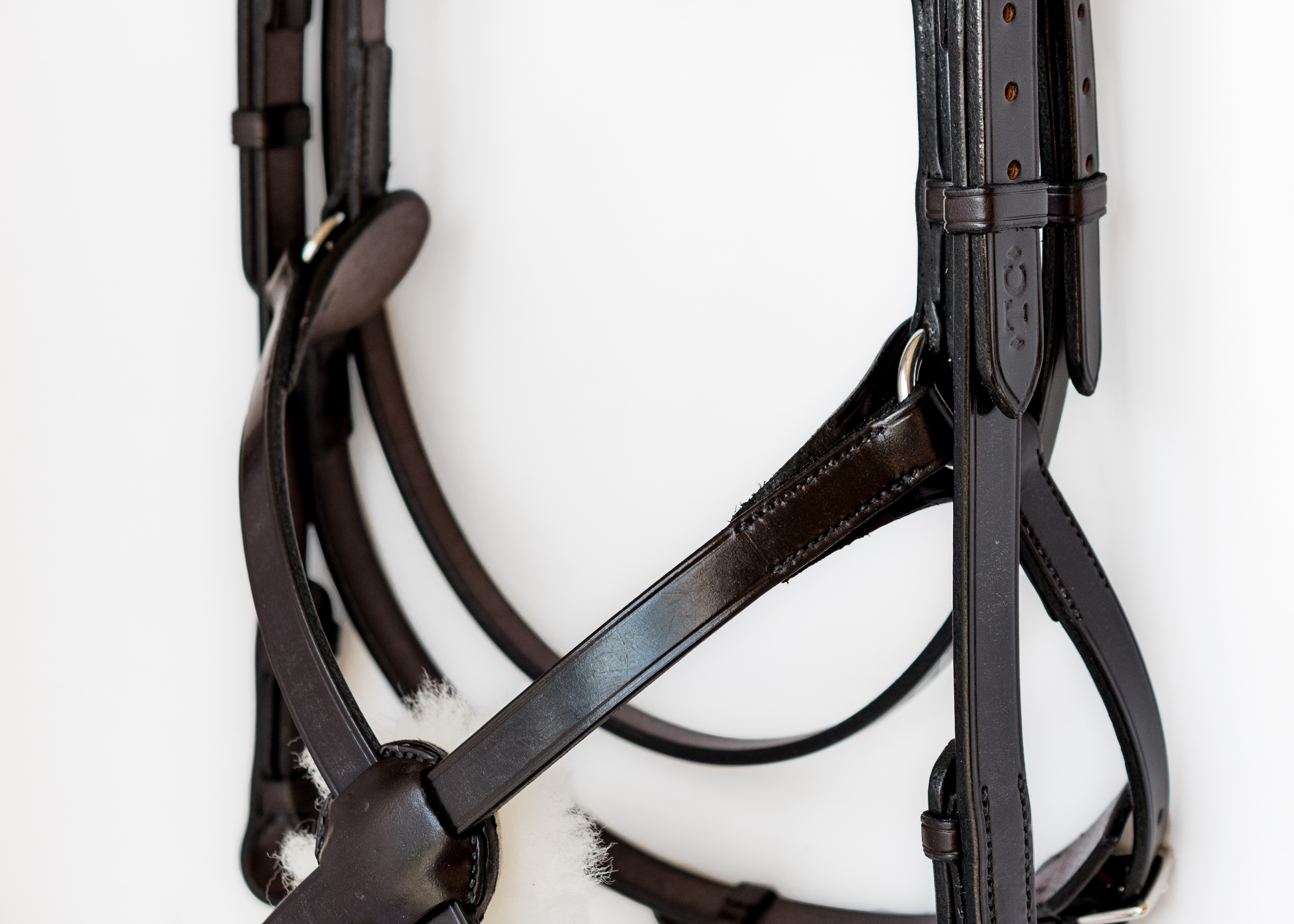 Bespoke hand made bridle with high ring grackle noseband by TC Leatherwork