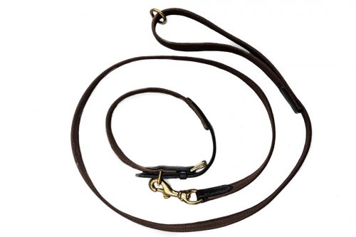 Leather & webbing dog collar and lead set by TC Leatherwork from Somerset