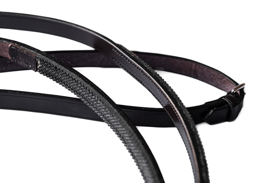Dark havana dressage reins from TC Leatherwork