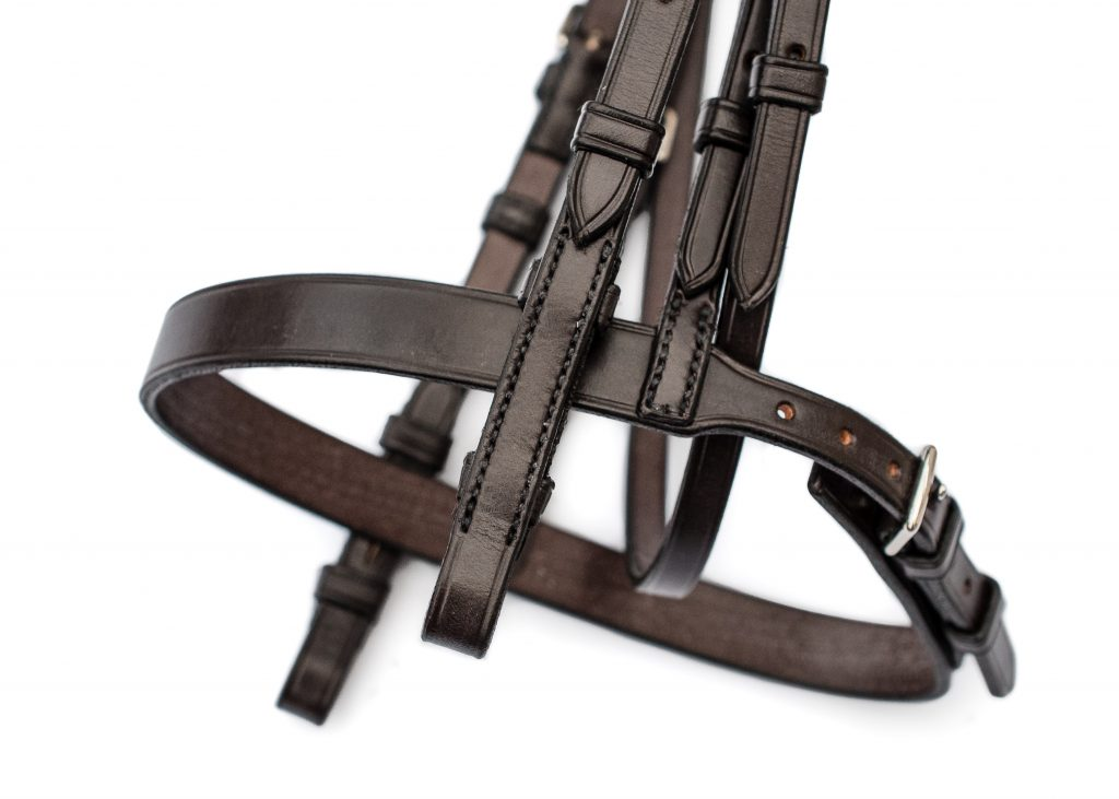 Pony show bridle with cut back headpiece in top quality English leather by TC Leatherwork