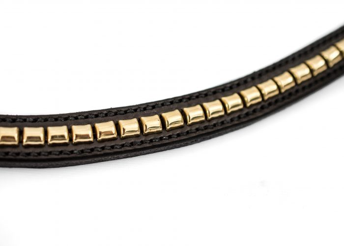 Brass Clincher Leather Browband in a curved design by TC Leatherwork in Somerse