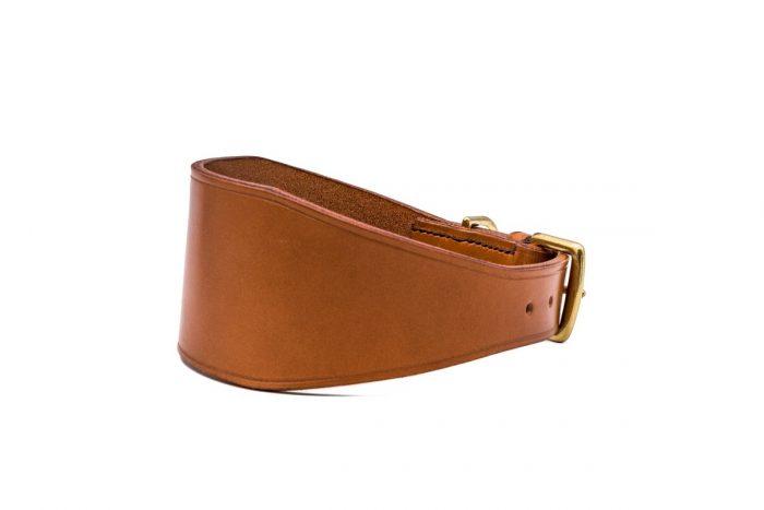 Tan English leather Sighthound collars by TC Leatherwork