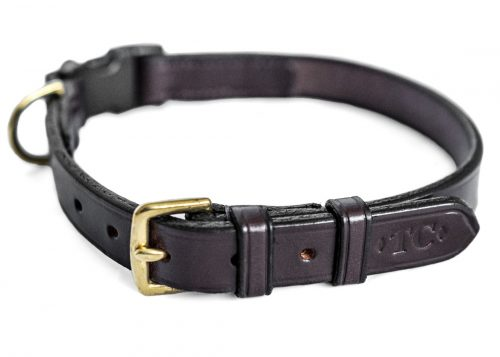 Leather dog collar with snap close attachment by TC Leatherwork