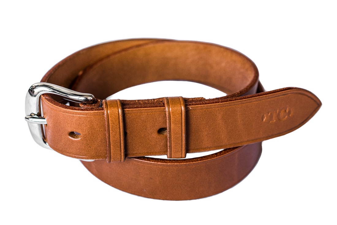 Handcrafted tan leather belt in top quality English leather from TC Leatherwork