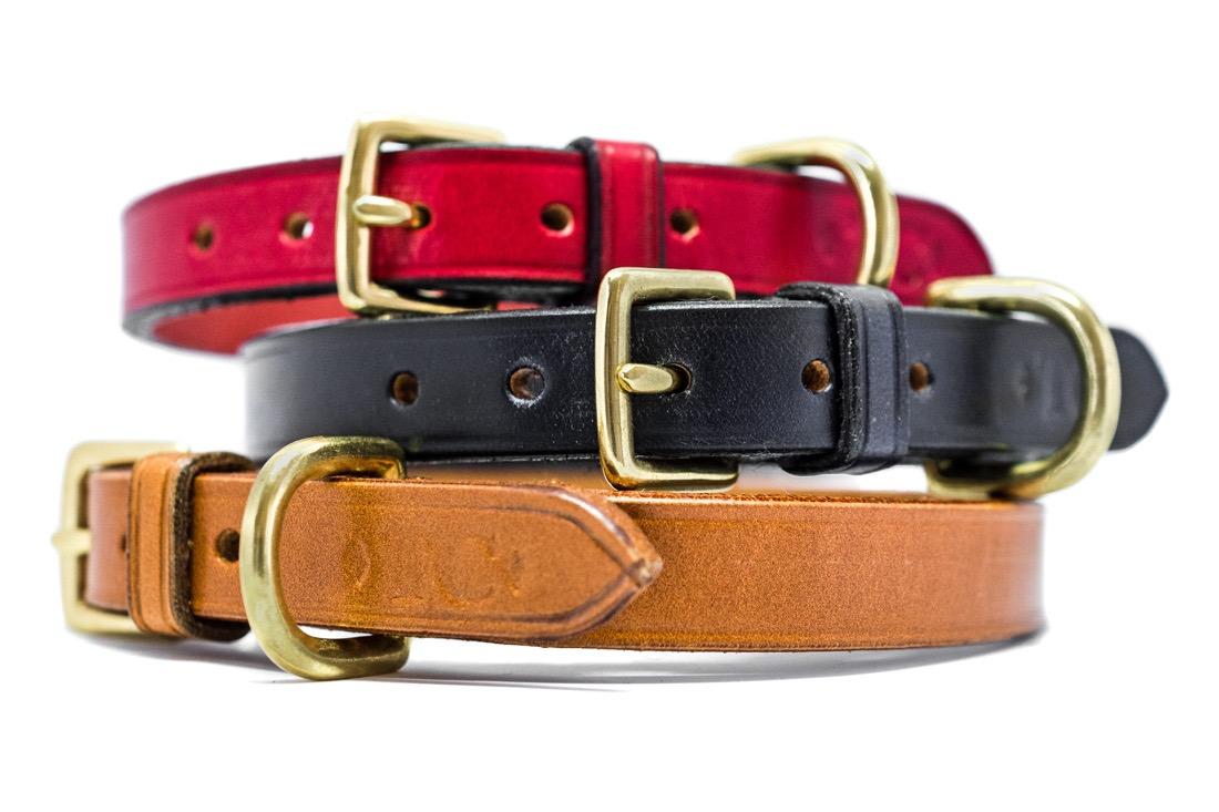 English leather coloured dog collars by TC Leatherwork