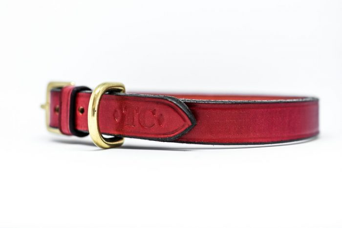 English leather red dog collars by TC Leatherwork