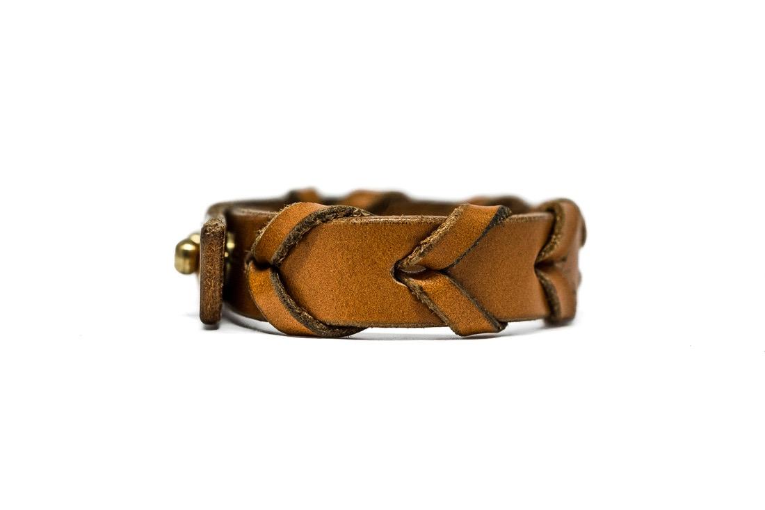 Unisex laced leather bracelet by TC Leatherwork
