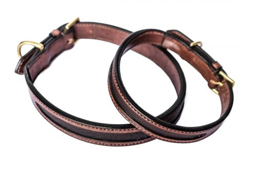 2 Tone Leather In-lay Dog Collars by TC Leatherwork
