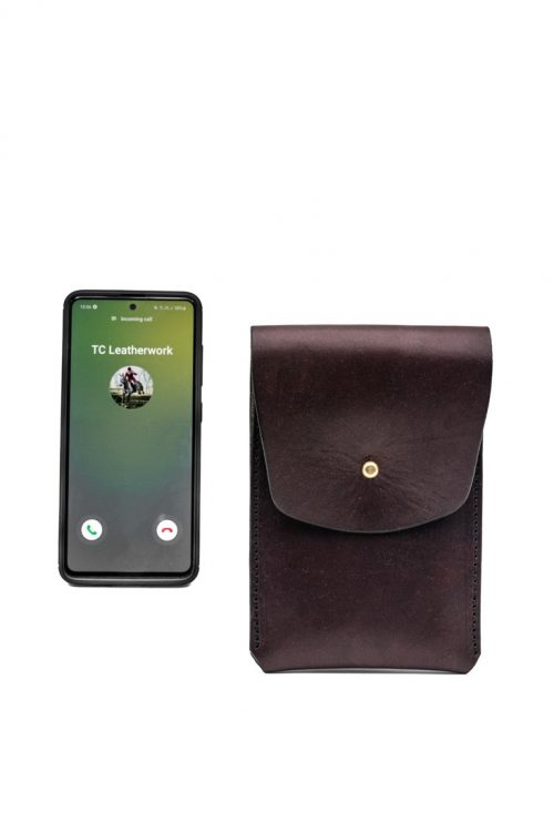 Bespoke Leather Phone Pouch by TC Leatherwork of Somerset