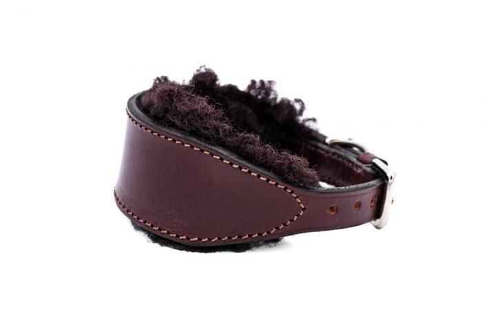 Sheepskin lined Whippet collar by TC Leatherwork
